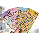 ONOR-Tech 4 Sheets Cute Lovely 3D DIY Decorative Puffy Adhesive Sticker Tape / Kids Craft Scrapbooking Sticker Set for Diary, Album