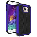 Galaxy S6 Case, Bastex Heavy Duty Hybrid Armor Case - Soft Black Silicone Cover Hard Royal Blue & Black Case for...
