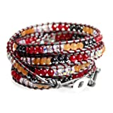 Cherry Red, Tangerine Orange, Gray, Clear Bead Leather Wrap Bracelet 39 Inch Long 5x Wrap