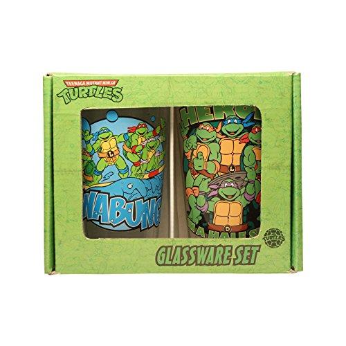 Silver Buffalo NT031P7 Nickelodeon Teenage Mutant Ninja Turtles Cowabunga and Heroes in a Half Shell 2 Piece Pub Glass Set, 16 oz, Clear (Ninja Turtles Glasses compare prices)