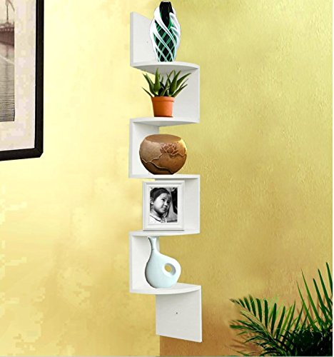 SHELVING SOLUTION Large Corner Wall Mount Shelf (White)