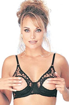 Shirley of Hollywood Lace Underwire Open Tip Bra Style 369 (36, Black)