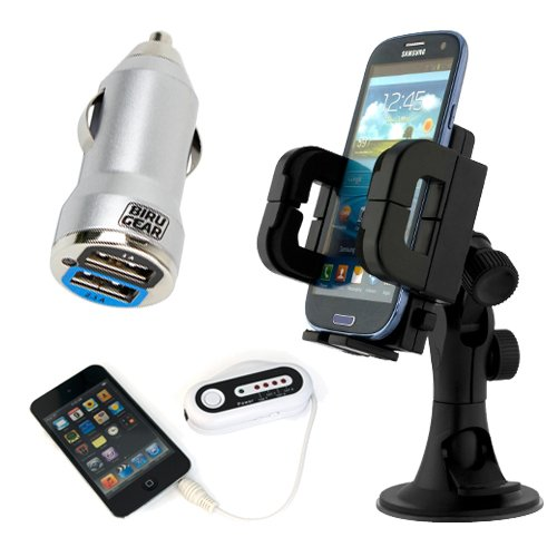 Ikross 3In1 Car Vehicle Windshield / Dashboard / Air Vent Mount Holder + Metallic Silver 2-Port Usb Car Charger Adapter 2A Output + Wireless Fm Transmitter W/ Car Charger For Samsung Galaxy S5 S 5; Apple Iphone 5S, 5C, 5, 4, 4S, Ipod Touch 5Th, Ipod Nano