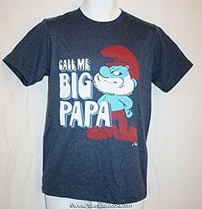 Amazon com the smurf s quot call me big papa quot men tee shirt small 28 30