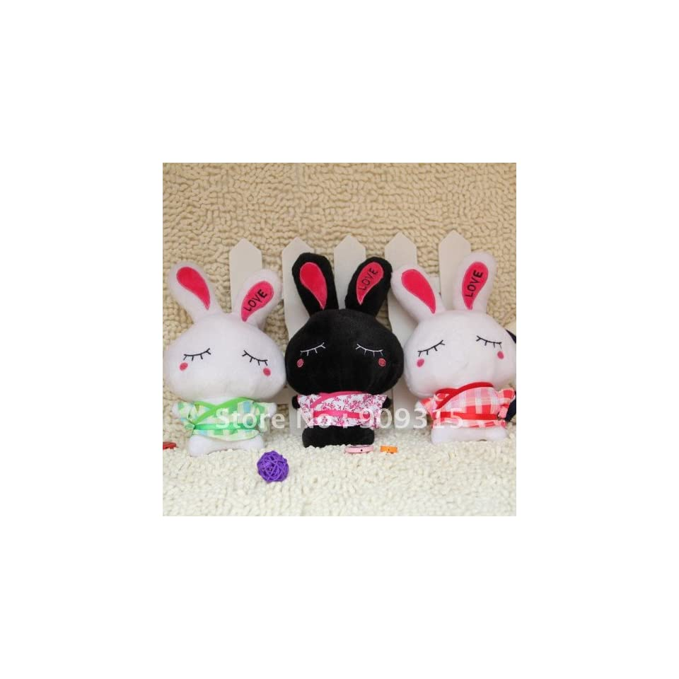 super cute love rabbit plush toys black & white 30 pcs/lot 9 mix order