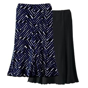 Plus Size Voyager Knit Reversible Skirt Cobalt White Print 1x At Amazon Women S Clothing Store