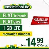 smartmobil.de LTE S Special [SIM, Micro-SIM und Nano-SIM] monatlich kündbar (1 GB LTE mit max. 50 MBit/s, Telefonie-Flat, SMS-Flat, 14,99 Euro/Monat ) O2-Netz