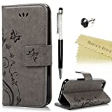 Maviss Diary iPhone 5 5s/SE Solide Grau Drucken(Schmetterling Weinstock)PU Ledercase Tasche H�llen Schutzh�lle Scratch M