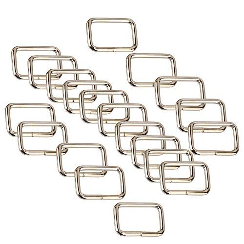 20pcs Backpack Luggage Metal Belts Loop Ring Rectangle Buckle