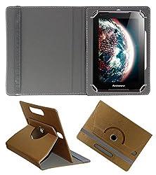 Acm Designer Rotating 360° Leather Flip Case For Lenovo Tab A7-30 A3300 Tablet Stand Premium Cover Golden