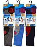3 Pack Childrens/Boys High Performance Ski Socks With Extra Cushioning, Shin Protection, Assorted Colours, UK: 12.5-3.5, EUR: 31-34