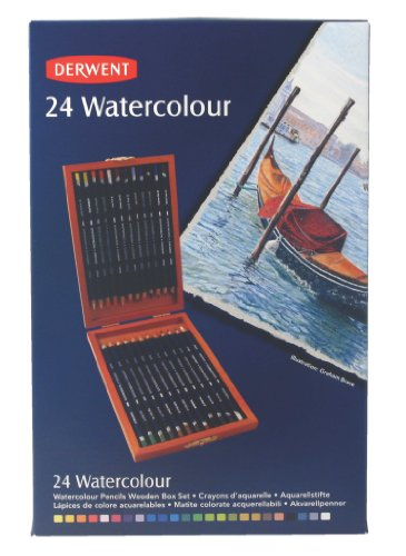 Derwent Watercolour Pencils Wooden Box Watersoluble Colouring Pencils (Set of 24)