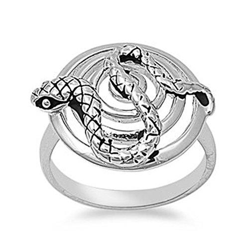 Rhodium Plated Brass Round Nature Snake Ring - Size9