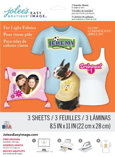 Jolee's Boutique Easy Image Transfer Paper for Light Fabrics, Glow in the Dark (Image Transfer Sheets compare prices)