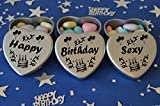 Happy Birthday Sexy Gift. Set of 3 Silver Mini Heart Tins Filled With Chocolate Dragees. Perfect Birthday Gift Present .Tin size 45mm x 45mm x20mm. (Sexy)