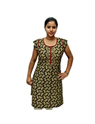 Odishabazaar Women's Black Cotton Printed Kurti M