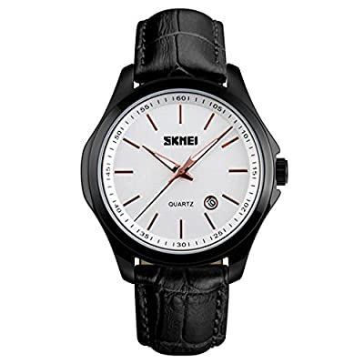 Mens Casual Analog Quartz Waterproof Business Black Leather Band Wrist Watch with Black Border and Strap, Simple Watch and White Dial