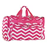 Womens Chevron Print Nylon Duffel Gym Travel Bag (Pink/White)