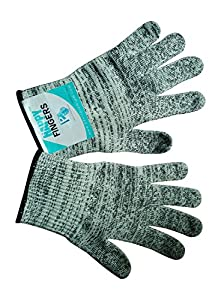 Happy Fingers Cut Resistant Gloves - Level 5 Grey Washable - Best Protective Gloves for Your Hand Safety - One Pair of Medium, Large Work Gloves Will Suit for Kitchen and Butcher - Protect Your Hands and Fingers - 100 Day Guarantee