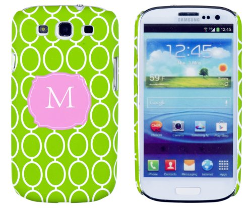 """Lime Green Chain Link Monogrammed """" M """" Embossed Slim Fit Hard Case For Samsung Galaxy S3 (At&T, T-Mobile, Sprint, Verizon, Us Cellular, International) [Retail Packaging By Dandycase With Free Keychain Lcd Screen Cleaner] front-132105"""