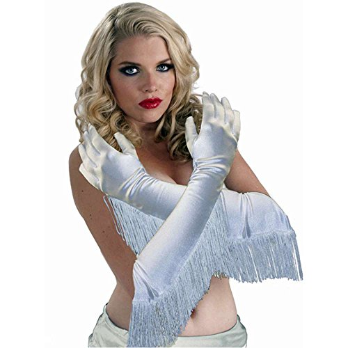 Long White Satin Fringed Cowgirl Gloves