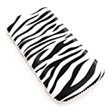 Flash Superstore HTC Legend Zebra Black / White Premium PU Leather Pouch / Case / Sleeve / Holder ( Large ) With Pull Tab Mechanism And LCD Screen Protector