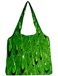 Snoogg Dew Drops Womens Jhola Shape Tote Bag