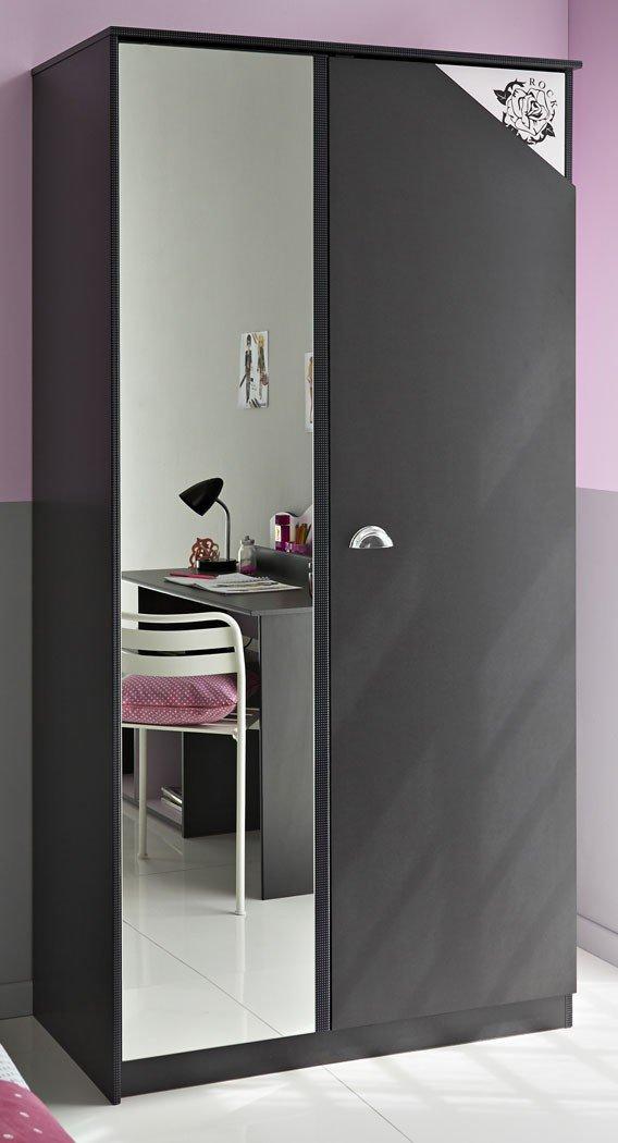 Kleiderschrank Tadeo 5 dunkelgrau rosa Schrank 2 Türen Spiegelschrank, Wäscheschrank 2-türig Jugendzimmer jetzt bestellen