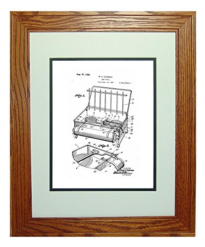 "Coleman Camp Stove Patent Art White Matte Print In A Honey Red Oak Wood Frame (11"" X 14"")"