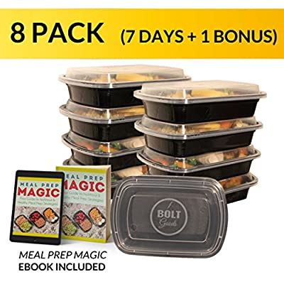 Bolt Goods Meal Prep Containers with Lids (8 Pack, 28 Ounce, Black Base) BPA-Free Reusable Microwave Dishwasher Freezer Safe - THE ONLY Crack Leak Resistant Food Storage with BONUS Meal Prepping Ebook
