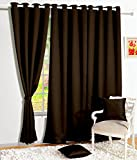 Story@Home 1 PC Faux Silk Eyelet Window Curtain Rintop, 5 ft Dark Brown