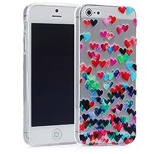 tinxi® Design Silikon Schutzhülle für Apple iPhone 5S iPhone 5 Hülle Rückschale Schutz Hülle Silicon Case geprägtes buntes Lieben Herz