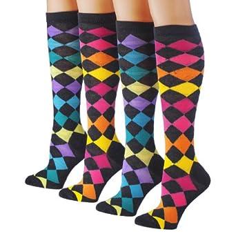 Tipi Toe Women's 4-Pack Colorful Patterned Knee High Socks, K36, 9-11