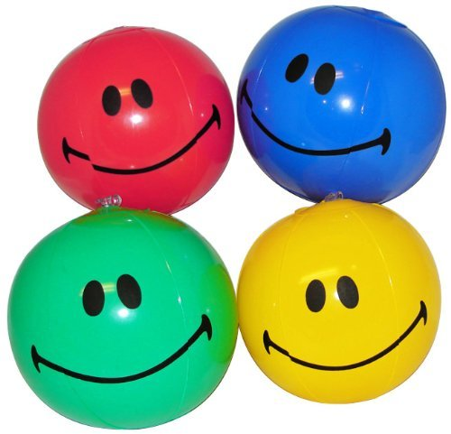 Mini Smiling Inflatable Beach Balls (1 dz) by Fun Express - 1