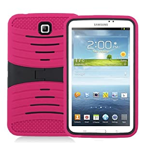 """[Rhino] Hot Pink Heavy Duty rugged impact Hybrid Case with Build In Kickstand Protective Case For Samsung Tablet Galaxy Tab 3 7"""" P3200 from Rhino"""