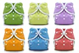 Thirsties Duo Wrap Snaps Size 2 Gender Neutral Colors 6 Pack and Dainty Baby Reusable Bag Bundle