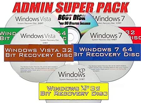 ADMIN SUPER 6 PACK - ALL WINDOWS SYSTEM RECOVERY DISCS - LIVE BOOT CD 32 / 64BIT DVD. (ALL discs work with Home Basic, Home Premium, Business, and Ultimate). Plus ADDITIONAL ULTIMATE BOOT CD by WinSoft Technologies - New 2012