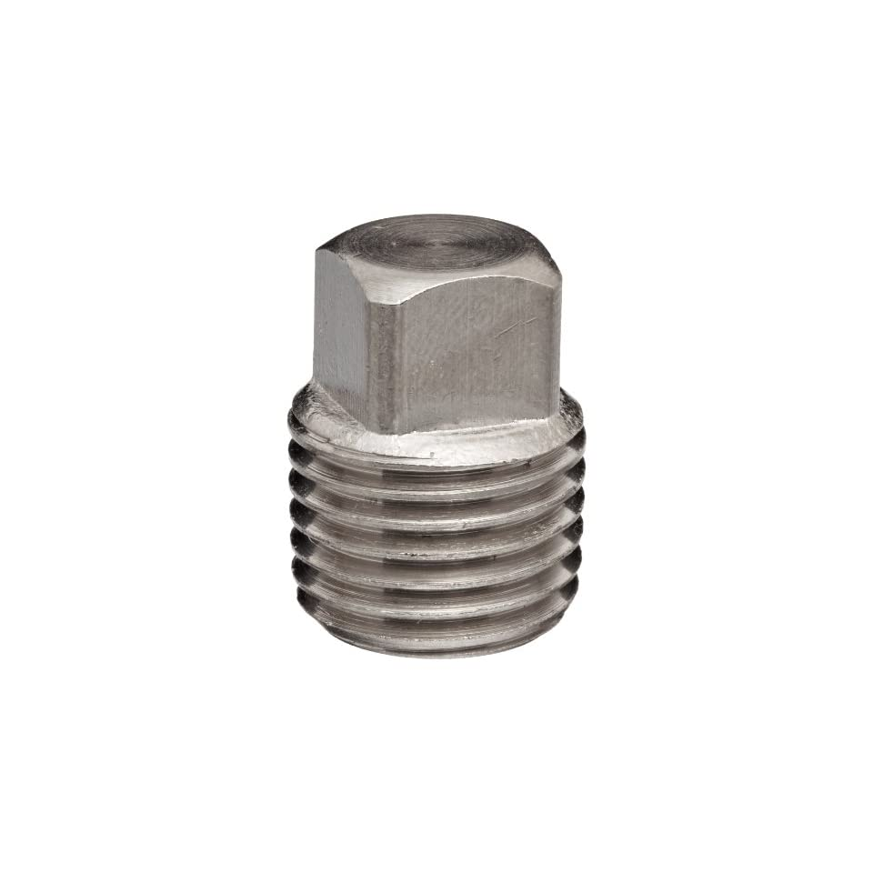 Polyconn PC109NB 4 Nickel Plated Brass Pipe Fitting, Square Head Plug, 1/4 NPT Male (Pack of 10)
