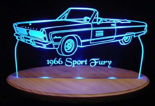 1966 Plymouth Sport Fury Convertible Acrylic Lighted Edge Lit Led Car Sign / Light Up Plaque 66