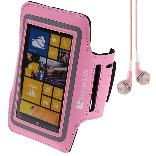 Sumaclife Running Sports Gym Armband Case Cover For Nokia Lumia Series Smartphones / Iphone 5S / 5C + Vangoddy Headset With Mic (Pink)