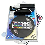 RC 12V 16.4ft 5M Waterproof Flexible RGB Color Changing SMD 5050 300LEDs Strip Light With 44Key Remote And Power Supply
