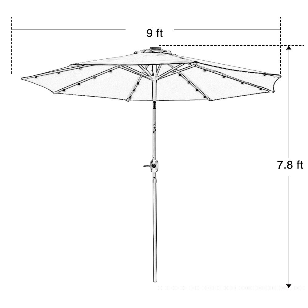 9 ft Solar Powered Patio Umbrella 32 LED Lights with Push Button Tilt Adjustment and Crank System 8 Rib Steel Pole Deluxe Outdoor Market Table Backyard Deck Poolside High-quality Polyester Tan