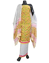 GiftPiper Unstitched Bagru Print Cotton Suit-White&Yellow