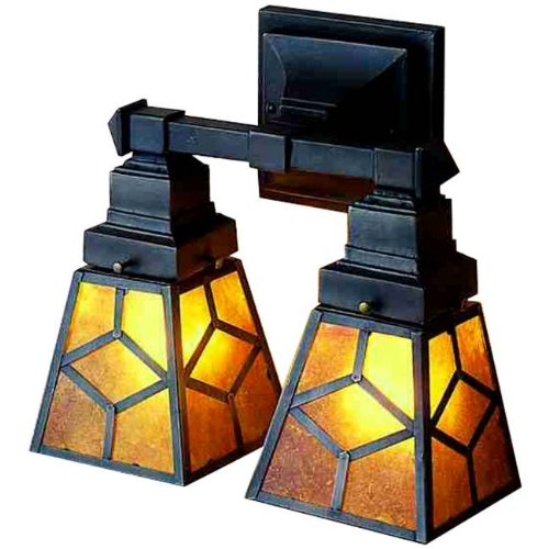12 Inch W Diamond Mission Mica 2 Lt Wall Sconce Wall Sconces