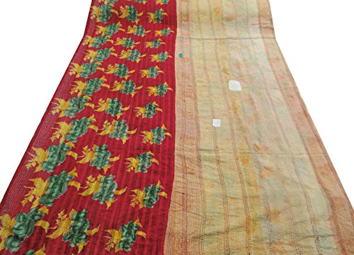 gudri tamaño doble estampado de flores del edredón sábana indio vendimia roja 100% algodón 94