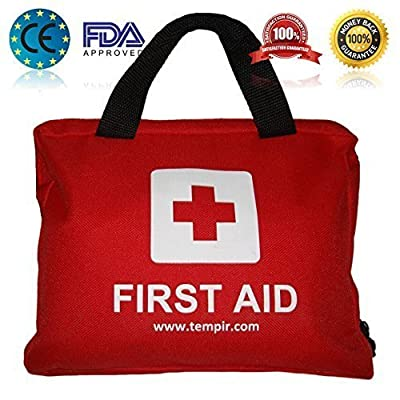 Tactical First Aid Kit: First Aid Kit Bag for Travel - Car - Home - Travelling - Caravan - Camping - Work. Over 100 pieces including Eye Wash - CPR MASK - Thermal Blanket - tweezers - scissors and much more.100% Guarantee. from Tempir
