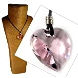 Pale Pink 28mm Crystal Heart Pendant Necklace 43 to 51cms made with Swarovski Elements by Diosa Jewellery