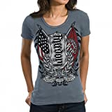 Red Chapter Freedom Liberty Stormy Weather Ambigram Women's Scoop-Neck Short Sleeve Shirt Medium Gray