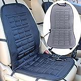 AUDEW 12V車用ホット シートヒーター 座面・腰面にヒーターを内蔵 車載 防寒 座席用 カー用品 車中泊 ホットクッション 簡単取付 ライトグレー