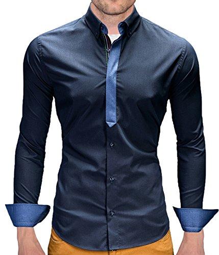Camicia Slim Fit BetterStylz Castro camicia a maniche lunghe 3 colori dinotech (S-XL) blu XXL